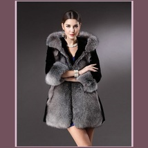 Thick Full Pelt Black Faux Mink Spliced Silver Gray Faux Fur Trimmed Hooded Coat