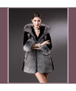 Thick Full Pelt Black Faux Mink Spliced Silver Gray Faux Fur Trimmed Hoo... - $199.95