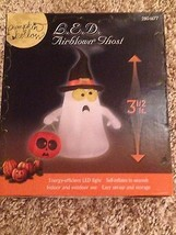 HTF New Halloween LED 3 1/2' Airblown/Inflatable Ghost With Witches Hat  Decor - $39.59