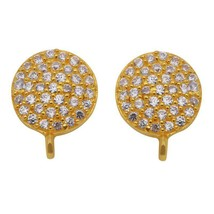 925 Sterling Silver Round Cut CZ Stone Yellow Gold Plated Cluster Stud E... - $18.54