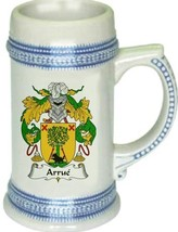 Arrue Coat of Arms Stein / Family Crest Tankard Mug - $21.99