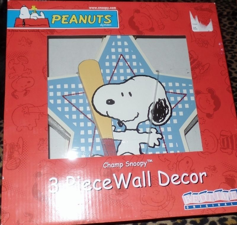 3 Piece Nursery Wall Decor Peanuts Champ Snoopy Baseball Football Soccer NEW