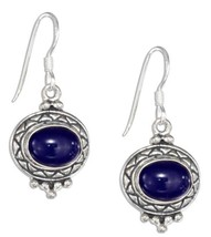 Sterling Silver Etched Border Oval Cabochon Lapis Earrings - $28.00