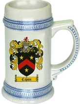 Capon Coat of Arms Stein / Family Crest Tankard Mug - $21.99