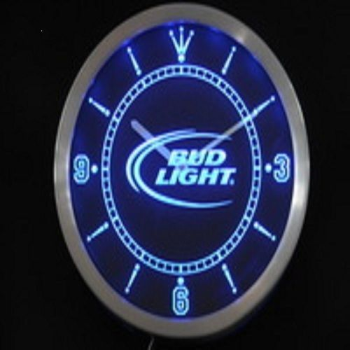BUD LIGHT LED NEON BEER CLOCK BAR BEER HAPPY HOUR
