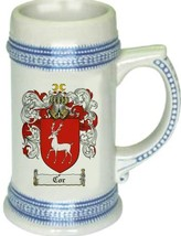 Cor Coat of Arms Stein / Family Crest Tankard Mug - $21.99