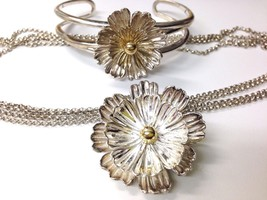 Sterling Silver Gold ESPO JOSEF ESPOSITO flower snap Necklace Bracelet s... - $197.99