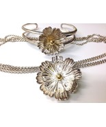 Sterling Silver Gold ESPO JOSEF ESPOSITO flower snap Necklace Bracelet s... - $197.99