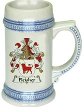 Fleisher Coat of Arms Stein / Family Crest Tankard Mug - $21.99