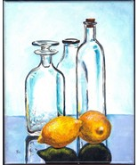 "Akimova: STILL LIFE WITH LEMONS, acrylic, 8""x10"", food, bottles - $30.00"