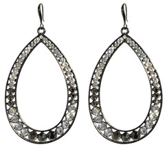 Amrita Singh Chohal Gunmetal Crystal Large Hoop Drop Dangle Earrings ERC 479 NWT - $21.29