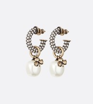 AUTH Christian Dior 2020 J'ADIOR CRYSTAL HOOP CLOVER PEARL CHARM EARRINGS
