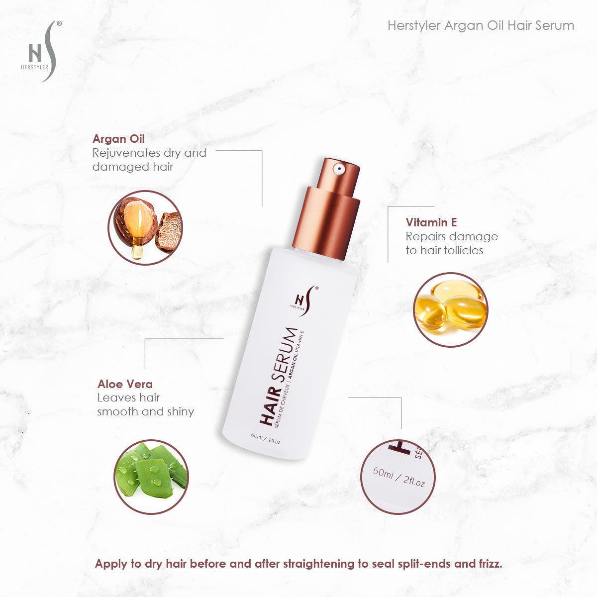 Herstyler Hair Serum with Argan Oil and Aloe Vera 2 fl oz / 60 m ( Pack of 4)
