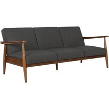 Mid Century Couch Sofa Futon Linen Upholstery & Wood Frame Living Room F... - £324.56 GBP