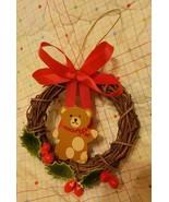 1987 Miniature Wooden Wreath brown Teddy Bear Christmas Ornament W.A. Br... - $14.95