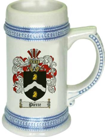 Pierce Coat of Arms Stein / Family Crest Tankard Mug