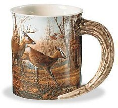 Autumn Run Whitetail Deer Sculpted Mug - $24.95
