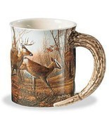 Autumn Run Whitetail Deer Sculpted Mug - $12.95