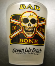 Ocean Isle Beach North Carolina Shot Glass Frosted Glass with Jolly Roger Theme - $6.99