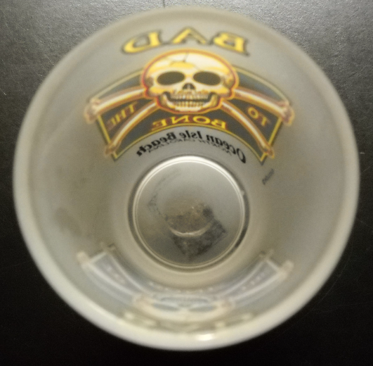 Ocean Isle Beach North Carolina Shot Glass Frosted Glass with Jolly Roger Theme