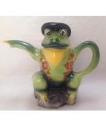 Vintage Wood Potters of Burslem Frog Teapot Hand Painted Staffordshire E... - $65.99