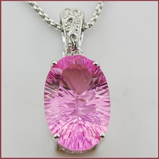 Vintage Sterling Silver Pendant With Pink Crystal Sapphire Oval Facet Cut Stone