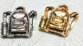 BACKPACK FINE PEWTER PENDANT CHARM - 5mm L x 14mm W x 14mm D
