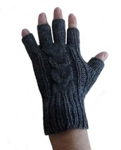 Alpakaandmore Womens Fingerless Alpaca Wool Gloves (Grey) [Apparel] - $24.45