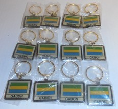 Wholesale Lot Of 12 Gabon Flag Metal Keychain, ... - $9.49