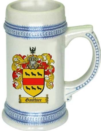 Gauthier Coat of Arms Stein / Family Crest Tankard Mug