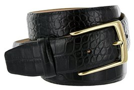 Joseph Gold Buckle Italian Leather Alligator Embossed Designer Dress Belt (Bl... - $29.69