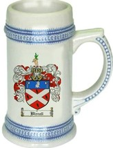 Birrell Coat of Arms Stein / Family Crest Tankard Mug - $21.99