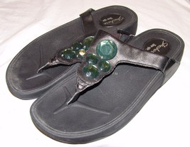 Skechers Tone Ups Flip Flops 8 8.5 Black w/ Green Gemstones Sandals Shoes - $31.69