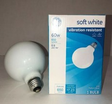 GE Vibrant Resistant 60W Soft White Dimmable G30 Globe Dimmable Light Bulb NEW - $18.50