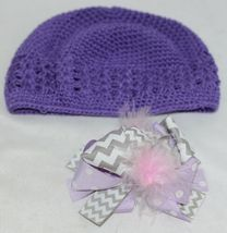 Unbranded Infant Toddler Purple Hat Stretch Removable Bow Multicolor image 5