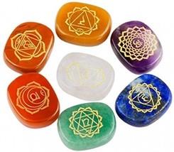 Rockcloud Healing Crystal 7 Chakra Stones Polished Engraved Palm Pocket Stone - $31.65