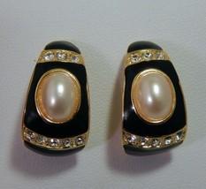 JOAN RIVERS GOLD PEARL BLACK ENAMEL RHINESTONE EARRINGS - $25.74