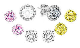 Jacket & 3 Pairs Set 5mm Each Stud Pink-Champagne-White Sapphire Stud Earrings  - $37.60
