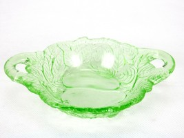 Two-handle Olive Bowl, Green Depression Indiana Glass Avacado Pattern, 1923-1933 - $29.35