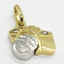 PENDENTIF EN OR JAUNE BLANC 750 18K, VOITURE PHOTOGRAPHIQUE, MADE IN ITALY - $287.16