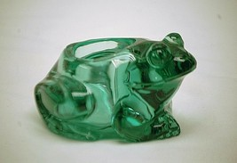 Old Vintage Heavy Solid Green Glass Frog Votive Candle Holder by Indiana... - $19.79