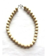 "Cream Large Fossil Bead Necklace 16"" Hook & Eye Clasp Handmade - $5.81"