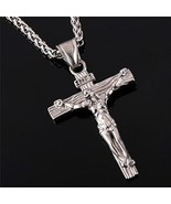 Stainless Steel Antique Cross Crucifix Pendant Necklace For Men 24 Inch ... - $15.71