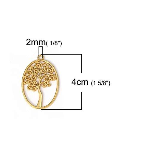 Primary image for Tree of Life Charms 40mm Wholesale Gold Plated Pendants 10 pcs