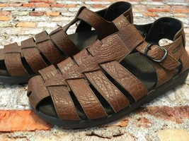 Mephisto Sam Fisherman Brown Leather Buckle Sandals Men's Size 43 23588756 - $74.25