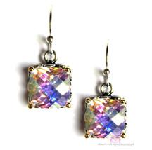 8mm Checker Throne Room Glory Fire Aurora Borealis Rainbow AB CZ Dangle Earrings - $79.65