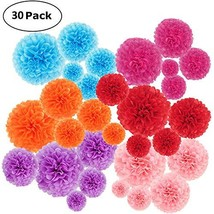 30 pcs Paper Pom Poms Decorations-Tissue Paper Flower for Party, Wedding... - $13.11