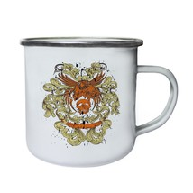 Eagle, Skull and FloralNovelty Funny Art Retro,Tin, Enamel 10oz Mug oo39e - $13.13