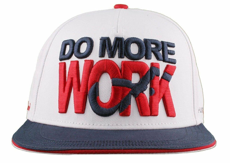 Flat Fitty Do More Work Wiz Khalifa SnapBack Baseball Cap Hat Red White Blue NWT