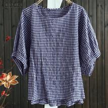 Top Fashion 2018 ZANZEA  Vintage Short Lantern Sleeve Plaid Check Shirt Summer W - $28.89+